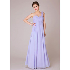 Discount One Shoulder Empire Chiffon Long Bridesmaid Dresses