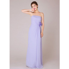 Elegant Chiffon Sheath Strapless Floor Length Bridesmaid Dresses