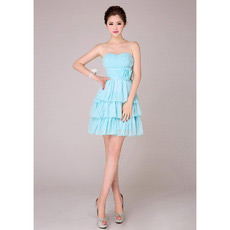 Custom Tiered Skirt Short Chiffon Sweetheart Bridesmaid Dresses