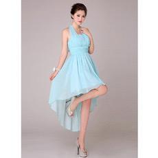 Sexy Asymmetric High-Low Halter Chiffon Empire Bridesmaid Dresses