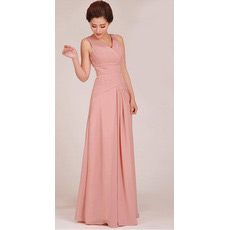 Sheath V-Neck Floor Length Chiffon Bridesmaid Dresses for Summer