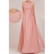 Custom One Shoulder Floor Length Chiffon A-Line Bridesmaid Dresses