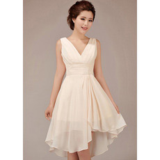 Elegant Simple A-Line V-Neck Short Chiffon Bridesmaid Dresses