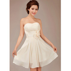 Custom A-Line Short Sweetheart Chiffon Bridesmaid Dresses