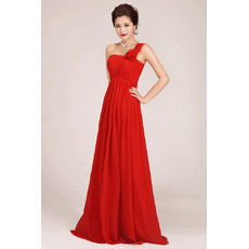 Custom One Shoulder Floor Length Chiffon Empire Bridesmaid Dresses