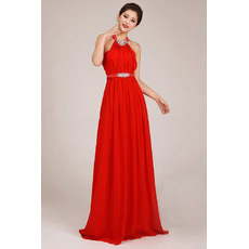 Affordable Halter Column Chiffon Floor Length Bridesmaid Dresses