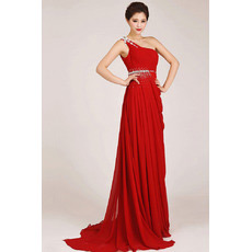 Custom One Shoulder Chiffon Sheath Sweep Train Bridesmaid Dresses