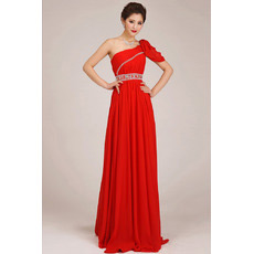 Discount One Shoulder Chiffon Sweep Train Sheath Bridesmaid Dresses