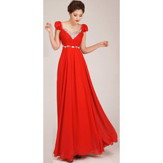 Custom Cap Sleeves A-Line Chiffon Floor Length Bridesmaid Dresses
