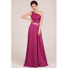 Sexy One Shoulder A-Line Floor Length Chiffon Bridesmaid Dresses