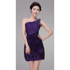 Custom One Shoulder Short Column/ Sheath Satin Cocktail Dresses
