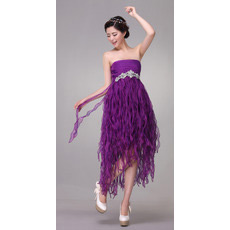 Draped Empire Strapless Tea Length Organza Dresses for Cocktail Party