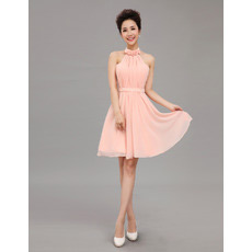 Inexpensive Elegant Halter Chiffon Short A-Line Cocktail Dresses