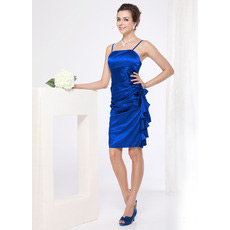 Discount Sexy Spaghetti Straps Sheath Short Satin Cocktail Dresses
