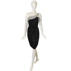 Sexy One Shoulder Black Chiffon Sheath/ Column Short Cocktail Dresses
