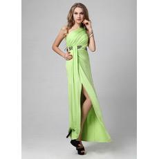 Custom Sexy One Shoulder Satin Sheath Floor Length Evening Dresses