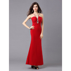 Custom Mermaid/ Trumpet V-Neck Satin Ankle Length Evening Dresses