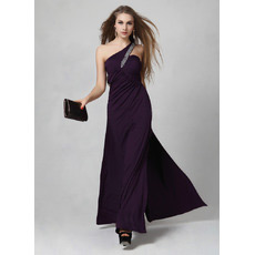One Shoulder Satin Sheath/ Column Floor Length Evening Dresses for Prom