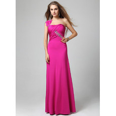 Custom One Shoulder Sheath/ Column Floor Length Satin Evening Dresses