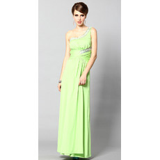 Sexy One Shoulder Sheath/ Column Ankle Length Satin Evening Dresses