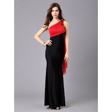 Inexpensive Mermaid One Shoulder Floor Length Satin Evening Dresses