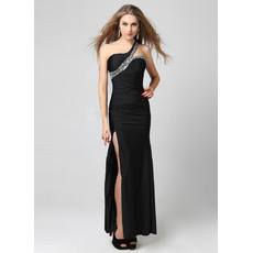 Sexy One Shoulder Sheath Floor Length Black Evening Dresses