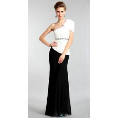 Discount One Shoulder Mermaid Chiffon Floor Length Evening Dresses