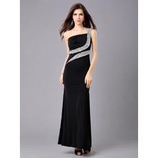 One Shoulder Sheath Satin Ankle Length Evening Dresses for Prom