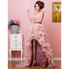 Luxurious High-Low Organza Strapless A-Line Evening Dresses for Prom