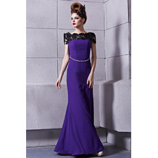 Custom Off-the-shoulder Sheath Floor Length Satin Evening Dresses