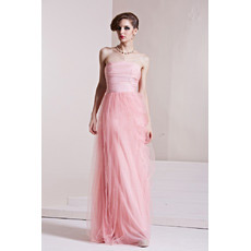 Inexpensive Strapless Sheath Floor Length Satin Evening Dresses