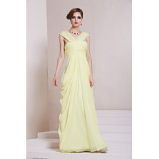 Sexy and Chic Chiffon V-Neck Sheath Floor Length Evening Dresses