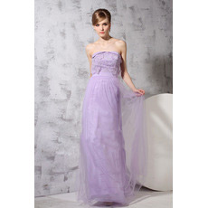 Sheath/ Column Strapless Floor Length Chiffon Evening Dresses for Prom