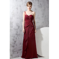 Custom One Shoulder Chiffon Floor Length Sheath Evening Dresses