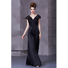 Affordable Black V-Neck Floor Length Satin Sheath Evening Dresses