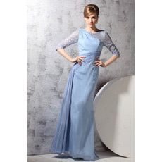 Long Sleeves Chiffon One Shoulder Floor Length Evening Dresses