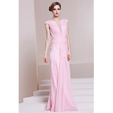 Custom Sheath/ Column Chiffon Bateau Floor Length Evening Dresses