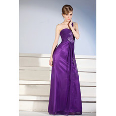 Custom One Shoulder Floor Length Satin Sheath Evening Dresses