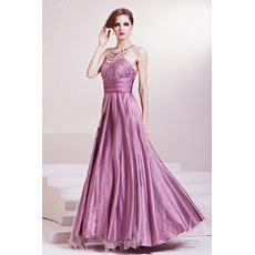 Inexpensive Halter A-Line Satin Floor Length Evening Dresses
