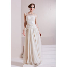 Chiffon Tulle A-Line Floor Length Bateau Evening Dresses for Prom