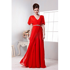 Custom Chiffon Cap Sleeves V-Neck Sheath Long Evening Dresses