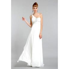 One Shoulder Chiffon Long Sheath Evening Dresses for Prom