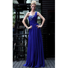 Discount One Shoulder Chiffon Sheath Floor Length Evening Dresses