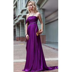 Custom Strapless Sheath/ Column Satin Sweep Train Evening Dresses