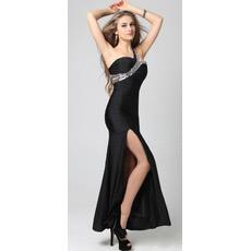 Affordable One Shoulder Ankle Length Satin Sheath Evening Dresses