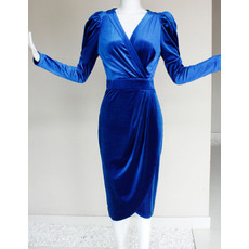Long Sleeves Short Velvet V-Neck Mother of the Bride/ Groom Dresses
