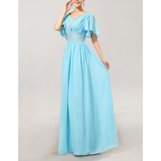 Cap Sleeves Chiffon V-Neck Long Mother of the Bride/ Groom Dresses