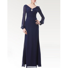 Long Sleeves Chiffon Floor Length Mother of the Bride/ Groom Dresses