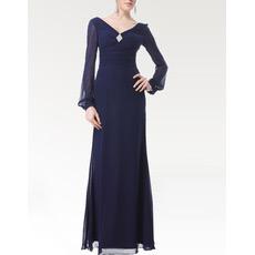 Long Sleeves Chiffon Floor Length Mother of the Bride/ Groom Dresses
