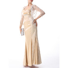 Mermaid Floor Length Mother of the Bride Dresses with Lace Jackets